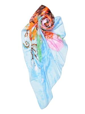 Платок голубой с принтом | 4868265