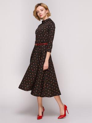 Платье черное в цветочный принт | 4867566