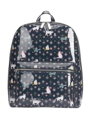 Рюкзак темно-синій в принт | 4862458