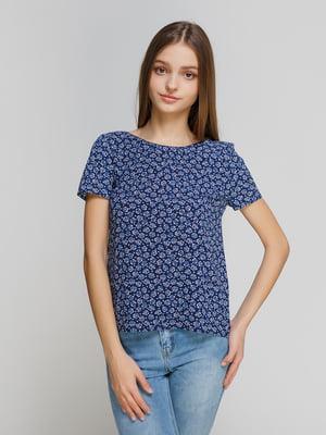 Блуза синяя в принт | 3781600