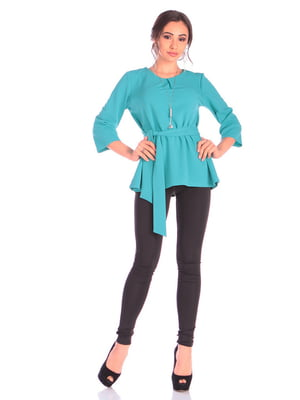 Блуза бирюзового цвета с поясом | 4876100