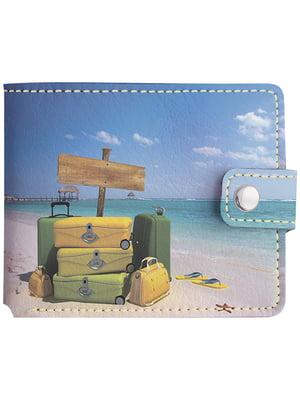 Бумажник голубой с принтом   4881280