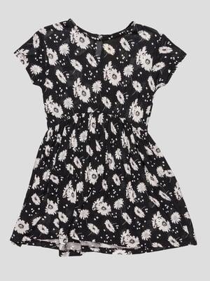 Платье черное в цветочный принт | 4506876