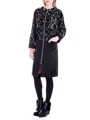 Пальто черное с рисунком | 4885169