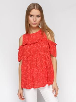Блуза красная в горох   4871445
