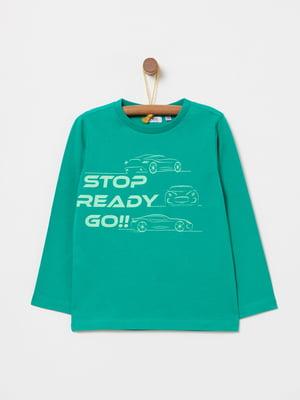 Лонгслів зелений з принтом | 4876532