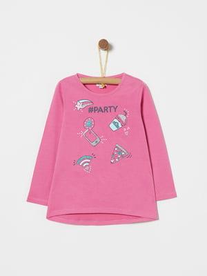Лонгслів рожевий з принтом | 4886444