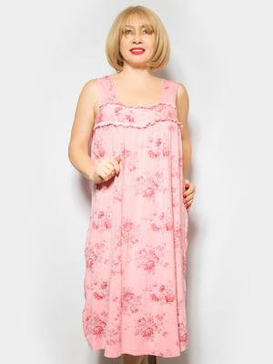 Рубашка ночная розовая в цветочный принт | 4887331