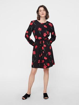 Сукня чорна в квітковий принт | 4879021