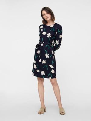 Сукня темно-синя в квітковий принт | 4879022