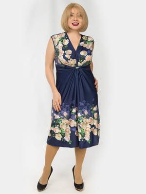 Сукня синя з квітковим принтом | 4888934
