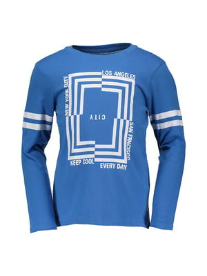 Лонгслів яскраво-синій з принтом | 4879525