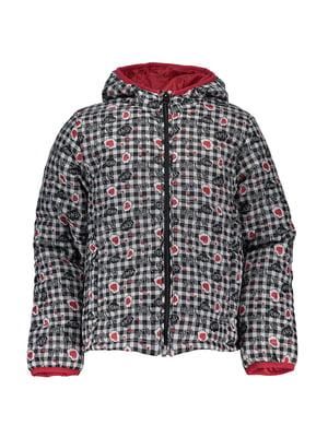 Куртка в клітинку з принтом | 4879551