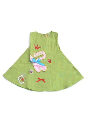 Сукня зелена з аплікацією | 4891399