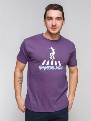 Футболка фиолетовая с принтом | 4854953