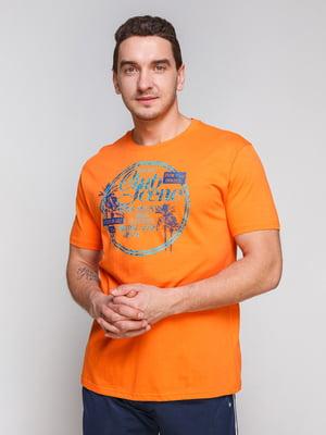Футболка оранжевая с принтом | 4854994