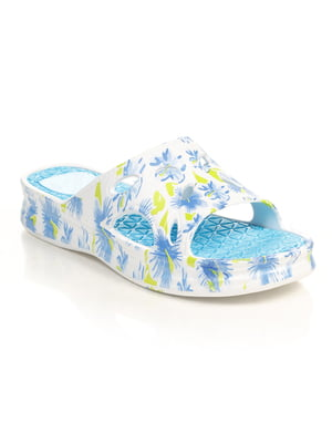 Шльопанці біло-блакитні в принт | 4890421
