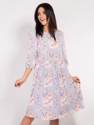 Платье голубое с цветочным принтом | 4893362