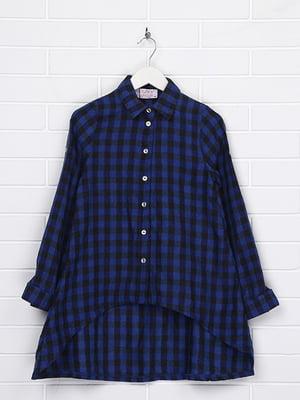 Рубашка синяя в клетку | 4892718