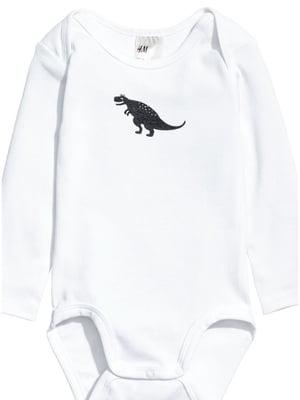 Боди белое с динозавром | 4895119