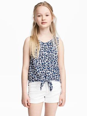 Топ белый в синий леопардовый принт | 4895420