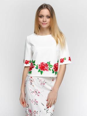 Блуза молочного кольору з аплікацією | 4891467