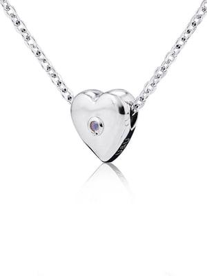 Кулон на серебряной цепочке «Сердце большое объемное» | 4875733