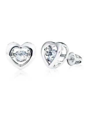 Серьги «Сердце малое с танцующим камнем» | 4875745