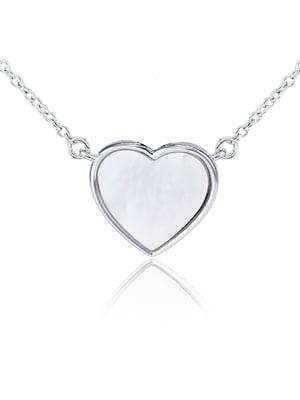 Кулон на серебряной цепочке «Сердце малое с перламутром» | 4875746