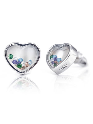 Серьги «Сердце малое с подвижными вставками» | 4875752