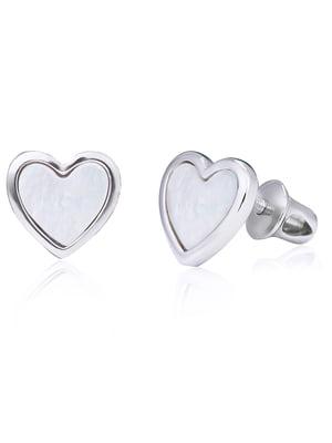 Серьги «Сердце с перламутром» | 4875753