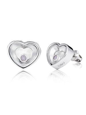 Серьги «Сердце малое с подвижной вставкой» | 4875756