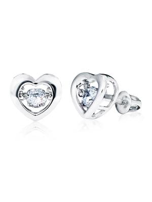 Серьги «Сердце большое с танцующим камнем» | 4875764