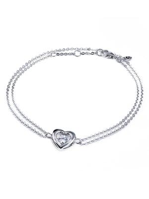 Браслет «Сердце большое с танцующим камнем» | 4875767