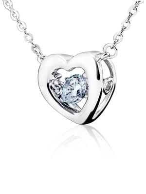 Кулон на серебряной цепочке «Сердце большое с танцующим камнем» | 4875770