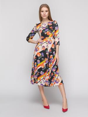 Платье в полоску и цветочный принт | 4873467