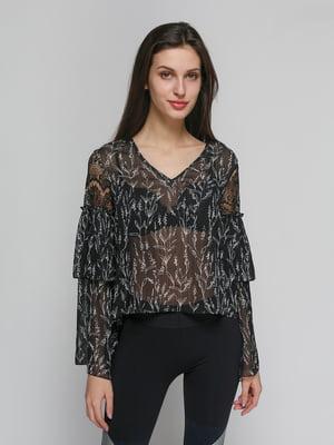 Блуза черная в цветочный принт | 4873479