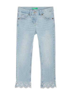 Джинси блакитні з вишивкою | 4886022