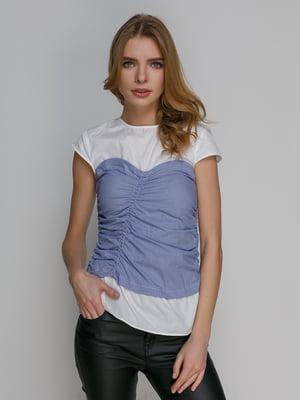 Блуза двухцветная в полоску | 4873694