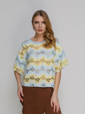 Блуза желто-голубая | 4873840