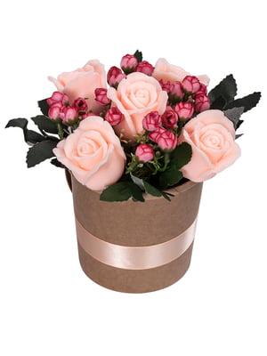 Букет из мыла в кашпо «Персиковые розы»   4897851