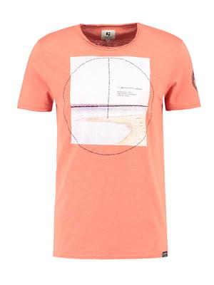 Футболка абрикосового кольору з принтом | 4901665