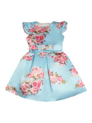 Сукня блакитна в квітковий принт | 4781189