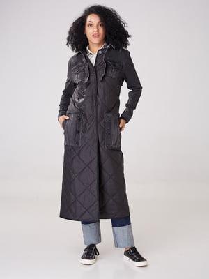 Пальто чорне з принтом | 4705126