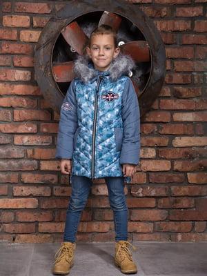 Куртка синя з камуфляжним принтом | 4902415