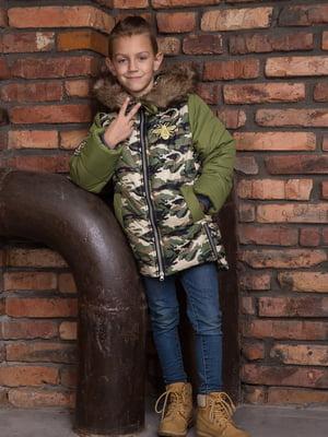 Куртка кольору хакі з камуфляжним принтом | 4902417