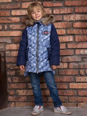 Куртка темно-синя з камуфляжним принтом | 4902418