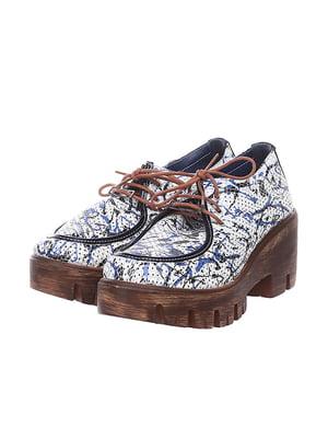 Туфлі білі в принт | 4904804