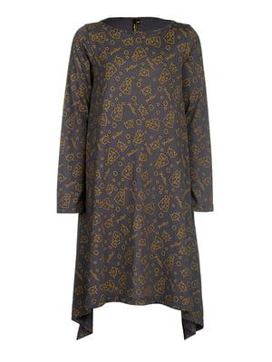 Сукня сіра в принт | 4613430