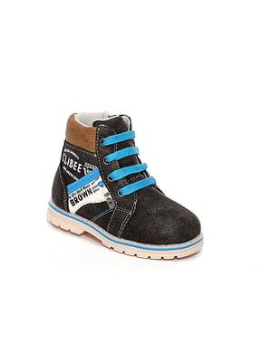 Ботинки черные с принтом | 4908415